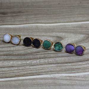 10mm Quartz Druzy Stud Boucles D'oreilles Adorable Agate Naturelle Druzy Drusy Boucles D'Oreilles Bijoux En Pierre Naturelle R81, 5 Couleurs pour choisir