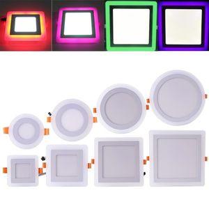 Downlight à LED Rond Carré 6W 9W 16W 24W 3 Modèle Lampe à LED Double Couleur Panneau Lumière Deux Plafond Couleur Encastré Lumières