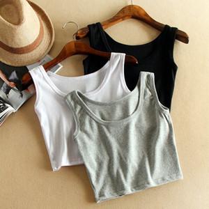 Wholesale-Women Short Sport Crop Top,7 Colors Summer Style Sleeveless U Croptops Fitness Gym Tank Tops,Femme Vest Tube Top