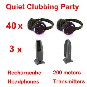 Profissional Silent Disco sistema preto levou fones de ouvido sem fio - Tranquilo Clubbing Party Bundle (40 Fones de ouvido + 3 Transmissores)