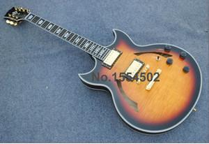 Бесплатная доставка ручной Джонни электрическая джазовая гитара, полый корпус VOS Sunburst цвет черного дерева гитара