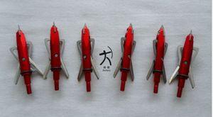 6 peças de tiro com arco caça raiva broadheads arrowheads arrow points 100 grão 2 lâminas cor vermelha frete grátis