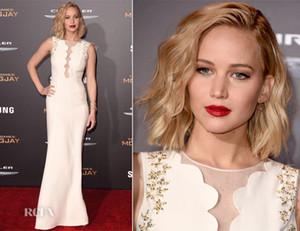 Cuello Redondo Marfil Blanco Sirena Jennifer Lawrence Vestidos de Celebridades Personalizado con cuentas Cuello Cuello sin mangas Hasta el suelo Vestidos de noche