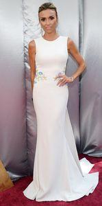 2016 Oscar Giuliana Ramcic Celebridade Vestidos Simples Tripulação Pescoço Bordado Sereia Até O Chão Vestidos de Noite Barato
