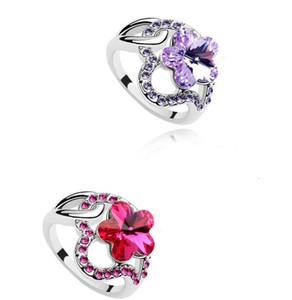 Мода Рубин кольца форма цветка Кристалл CZ бриллиантовое кольцо новый роскошный аметист сапфир изумруд глянцевые кольца