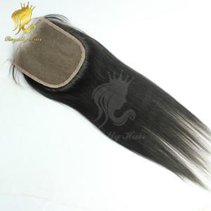 luce yaki Chiusura in pizzo 4 * 4 nodi candeggiati Italian light yaki Human Hair Lace Closure Colore nero per capelli naturali