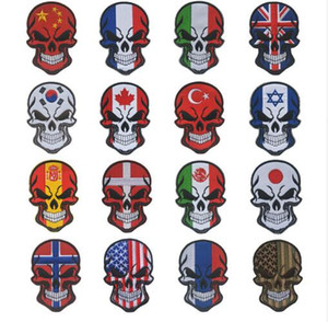 SKULL FRANCE ITALY UNION JACK Turkey FLAG patch Mexico Israel USA National Flag Tactical Morale Military Espana Patch Applique