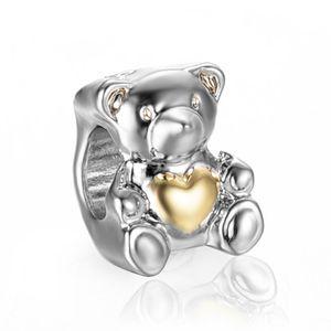 freies Verschiffen silbernes Goldrosagold überzog Teddybär-Pandora-Kornencharme passendes europäisches Artarmband PB005