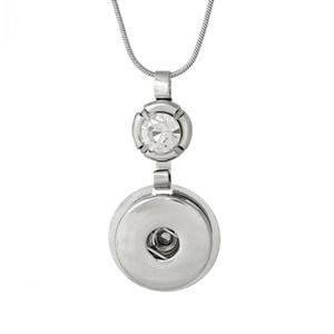 Apreciação Jóias -1 snap Jóias Colar cobra corrente da Rodada de prata tom claro Rhinestone Fit botões de pressão 43.5cm, o charme Hole: 6,0 mm, 2 PCs