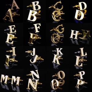 26 خطابات إنجليزية A-Z Cufflinks Mens أزرار أكمام قميص ذهبي اللون فرنسي قميص رجال مجوهرات أزرار أكمام اسم أزرار الكفة الأولي