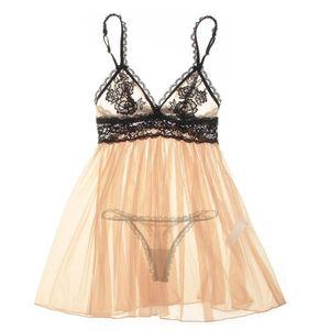 플러스 사이즈 S-6XL 란제리 섹시한 뜨거운 에로 여성 Sleepwear Nightwear Transparent Underwear 자수 레이스 Nightgown Lenceria