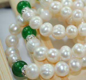 Venta caliente 8-9 MM Pure Natural Fresh Water Oyster Pearls Esmeralda Pulsera Joyería de la boda encanto Perla pulsera elástica