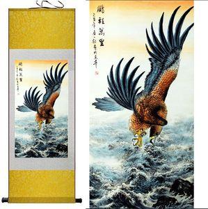 1 Stück Adler Fliegen Home Office Dekoration Chinesische Scroll Silk Wandkunst Poster Bild Malerei Für Wohnzimmer