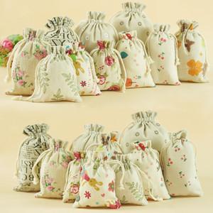 tailles multi sacs de linge Drawnstring Impression Pochettes cadeau sacs en toile de jute Jute sacs paquet Pochette cadeau paquet énergie mobile en toile de jute