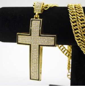 Men and Women 14K gold Diamond HIPHOP Hip-hop curved cross hip-hop necklace