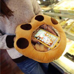 Creative magic tool Transparent clear hand warmer play mobile Phone Visible Cartoon pillow Plush Cushion Toy Phone