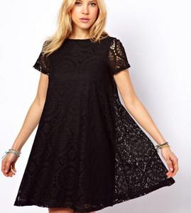2015 new women dresses plus size lace dress short slleeve women's dresses 5 colors dresses 8046 black