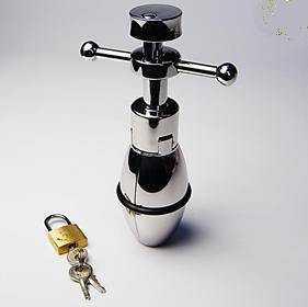 Neue Edelstahl große Größe Anal Plug Lock Metall Butt Plug BDSM Anal Sex Spielzeug + Pussy Vibrator + Dong