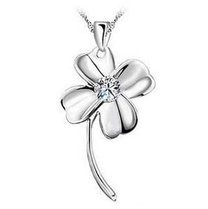 925 sterling silver items crystal jewelry four-leaf clover pendant statement necklaces for woman wedding new charms