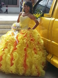 Vestidos de Novia Quinceanera Dresses Sweet 16 Dress Sweetheart Back Lace Up ball gown Yellow Organza Prom Gowns 2015 Custom made