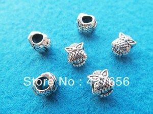 Lindo gabinete Antique Silver tone Night Owl Slider Slider Beads Colgante Charm / Finding, para Pulsera Collar, Accesorio DIY