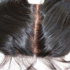 10A chiusura superiore bassa di seta 4x4 nodi vergine brasiliana chiusura superiore del merletto capelli capelli non trattati merletto svizzero sbiancati