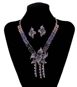 New Fashion Korean Style Colorful Rhinestone Beautiful Flower Tassel Pendant Necklace And Earrings Set