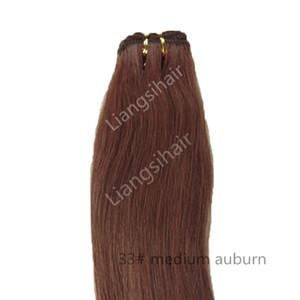 """Indian Straight Hair Extensions Ранг 7А 100G 1шт 18"""" 33 # Medium Auburn Бразильский волос Уток Real Индийский девственница Remy Weave человеческих волос"""