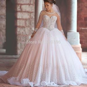 Yeni Varış Lüks Dedi Mhamad Uzun Kollu Gelinlik 2016 Romantik Balo Prenses Gelin Kıyafeti vestidos de noiva