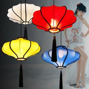 Linterna de estilo chino Comedor Colgante Luz Tela Tela Pantalla Restaurante Chinatown Lámparas Colgantes Retro Lámparas colgantes de la sala de estar