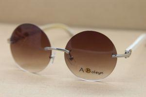 2020 Wholesale High-end Sun Glasses Rimless White Buffalo Horn Sunglasses Round 3524012 gold glasses driving glasses Size:57-18-140 mm