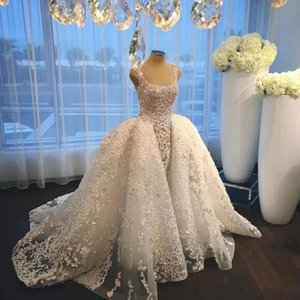 Charming Romantic Ivory Over-skirt 풀 레이스 웨딩 드레스 2018 Square Neckline Lace Bridal Gowns for weddings