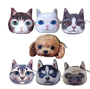 Bello del gatto della testa di cane borsa della moneta del 3D Character animali Meow Star People Zipper portamonete delle ragazze delle donne Midi borsa Caso Chirstmas Gifts DCBF03