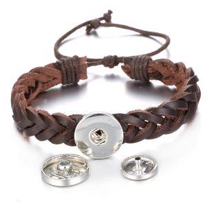 Noosa Chunks 2 Cores PU Couro 18mm Botão Snap Charm Bracelet para Mulheres Snap Button Jewelry