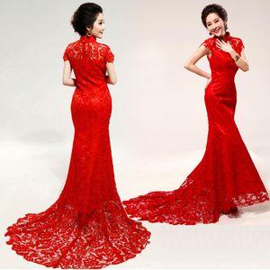 Vestidos de novia de China Cheongsam convencionales 2015 de cuello alto sin mangas de sirena vestidos de novia de barrido de tren apliques de encaje rojo vestido de novia