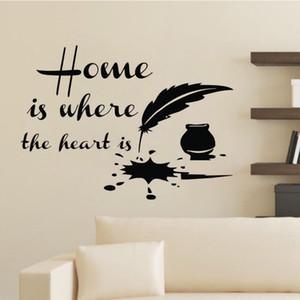Casa è dove il cuore è citazioni Adesivi murali Piuma inchiostro Home Decor Accessori Vinyl Stickers murali fai da te