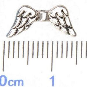 Alas de ángel cuentas de metal de plata antigua para la fabricación de joyas nueva diy accesorios de joyería de moda espaciadores de perlas 14 * 7mm 500 unids