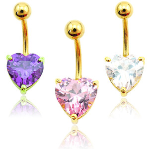 Wholesale Brand New Fashion Belly Button Rings Golden Surgical Steel Crystal Heart Navel Body Piercing Jewelry