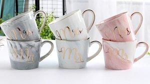 2018 top Tazza di marmo modello e tazza di ceramica Lettera d'oro Creativo tazze tazza di caffè colazione latte tazze e tazza di viaggio a88
