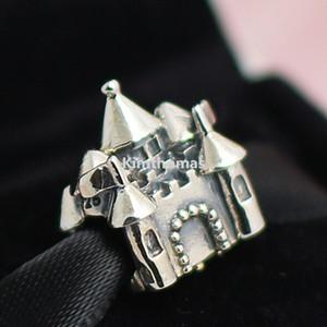 Plata de ley 925 14K Real Gold Happily Ever After Charm Bead con Cz Se adapta al estilo de Pandora Europeo Pulseras Collares Colgantes