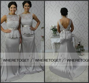 2019 Cheap Lace Bridesmaid Dresses Long Silver Mermaid Maid of Honor Dresses Bateau Peplum Backless Formal Party Gowns Dresses Under 100