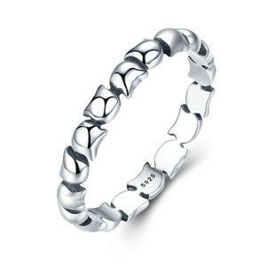 원래 디자인 925 스털링 실버 귀여운 고양이 쌓을 수있는 손가락 반지 여성 결혼 동물 S925 실버 쥬얼리 SCR047