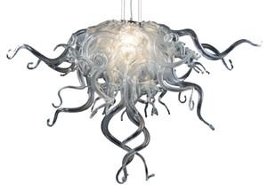 Nueva llegada de color plateado tamaño pequeño araña de cristal decoración de la sala de estar LED 100% arañas colgantes de vidrio soplado a mano