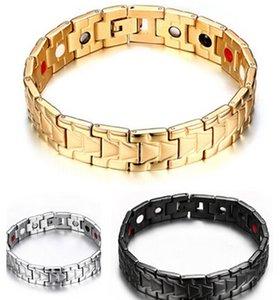 Brand New Silber Gold Schwarz Farbe Zu Wählen Lastest 316L Edelstahl Magnetfeldtherapie gesundheitsarmband Armband Männer