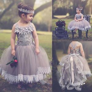 Vestidos de niña de flores de encaje con forma de bola de color gris plateado para bodas Tul Tutu Niños Vestidos de concurso Vestidos de fiesta sin capas en capas