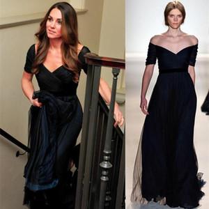 케이트 미들 이브닝 드레스 제니 Packham 네이비 블루 라인 오프 어깨 공식적인 이브닝 드레스 짧은 소매 유명 인사 파티 가운