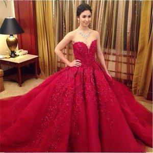 Красные Свадебные Платья 2016 Великолепное Бальное платье A-Line Элегантный Милая Без Бретелек Свадебные Платья Свадебное Платье Кружева Аппликации