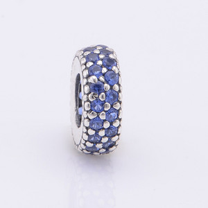 Fits Pandora Charms Bracelet 925 Sterling Silver Pave Midnight Blue Zircon Spacer Beads Charm DIY Jewelry Free Shipping