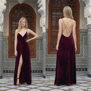 Sexy Spaghetti Burgundy Velvet Prom Dresses Evening Wear Backless Criss Cross High Split Evening Dressess Floor Length Party Gowns