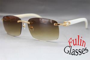 Venta al por mayor y venta al por mayor 2015 Nuevas gafas de sol White Buffalo Gafas de cuerno genuinas Todos los colores: Oro 8200759 o Plata 8200760 Tamaño 60-18-140mm